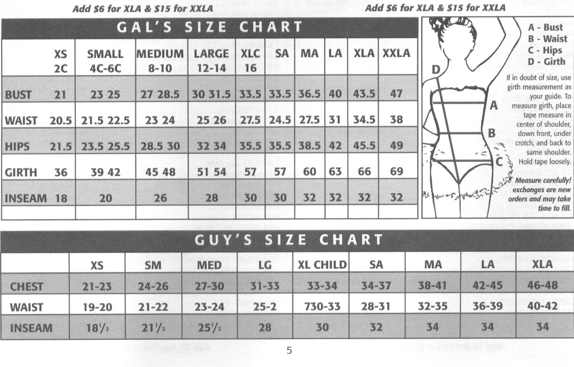 Costume Size Ch... Algy